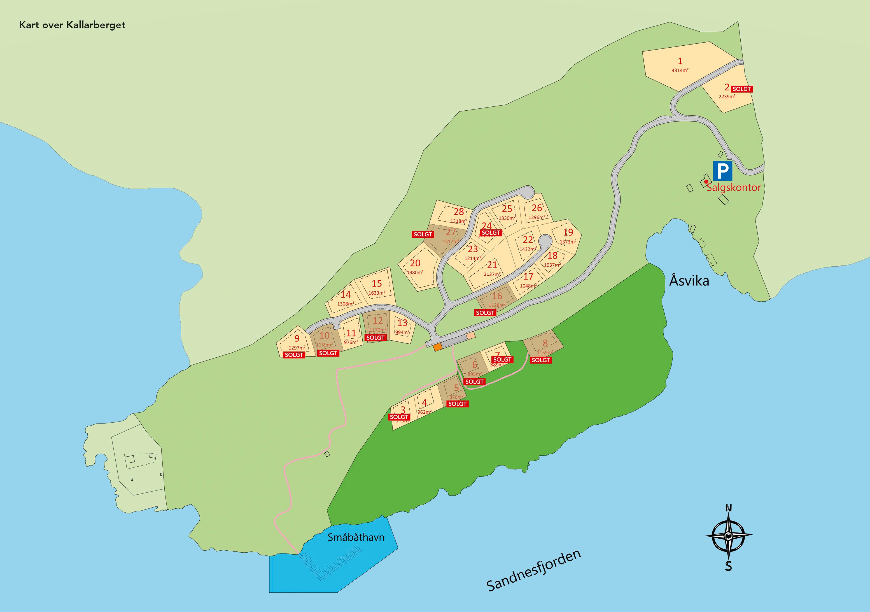 Oversikt over ledige tomter på Kallarberget